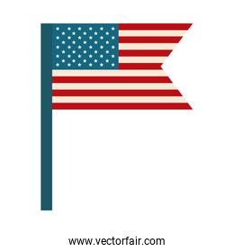 happy independence day, american flag in pole national symbol flat style icon
