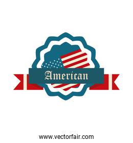 happy independence day, american flag badge and ribbon decoration flat style icon