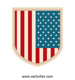 happy independence day, american flag shield freedom patriotism flat style icon