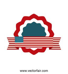 happy independence day, american flag ribbon and badge emblem freedom flat style icon
