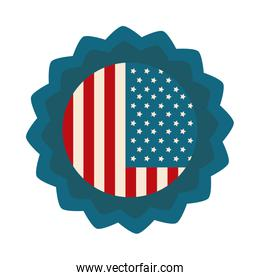 happy independence day, american flag memorial badge celebration flat style icon