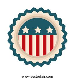 happy independence day, american flag badge emblem freedom flat style icon