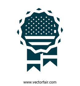 happy independence day, medal memorial american flag silhouette style icon