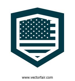 happy independence day, american flag shield patriotism design silhouette style icon