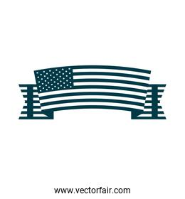 happy independence day, ribbon with american flag decoration silhouette style icon