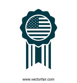 happy independence day, american flag medal insignia design silhouette style icon