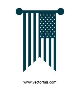 happy independence day, pendant american flag decoration silhouette style icon