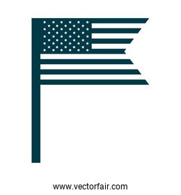 happy independence day, american flag in pole national symbol silhouette style icon