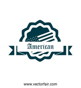 happy independence day, american flag badge and ribbon decoration silhouette style icon