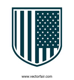 happy independence day, american flag shield freedom patriotism silhouette style icon