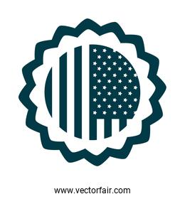 happy independence day, american flag memorial badge celebration silhouette style icon