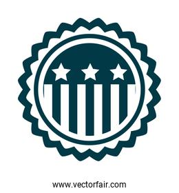 happy independence day, american flag badge emblem freedom silhouette style icon