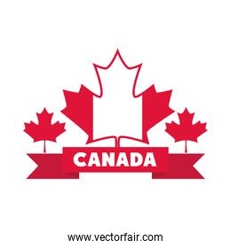 canada day, flag maple leaves ribbon national celebration flat style icon