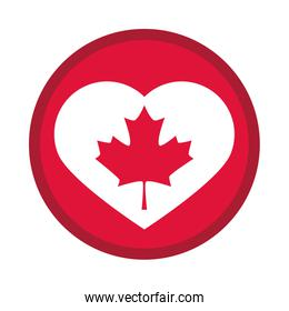 canada day, maple leaf in heart badge decoration flat style icon