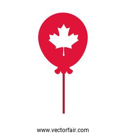 canada day, balloon with maple leaf decoration flat style icon