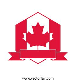canada day, canadian flag maple leaf and ribbon emblem flat style icon