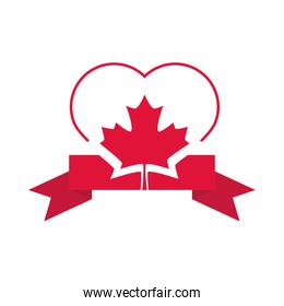 canada day, heart maple leaf ribbon decoration flat style icon