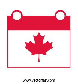 canada day, independence calendar date maple leaf sign flat style icon