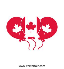 canada day, canadian flag balloons maple leaf decoration flat style icon