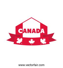 canada day, canadian flag ribbon maple leaves banner flat style icon