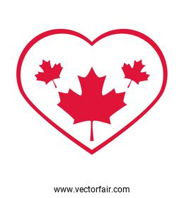 canada day, maple leaves in heart love country celebration flat style icon