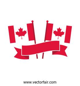canada day, canadian flags in pole banner freedom celebration flat style icon