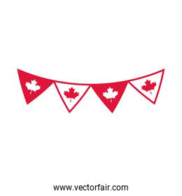 canada day, pennants flag maple leaves decoration celebration flat style icon