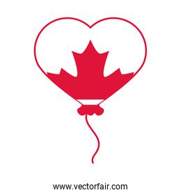 canada day, balloon shaped heart with maple leaf celebration flat style icon