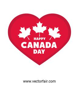 canada day, patriotic celebration heart and maple leaves flat style icon