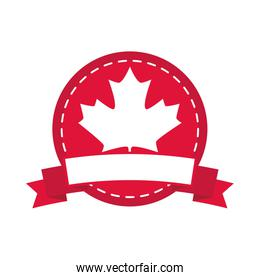 canada day, maple leaf canadian flag color sticker design flat style icon
