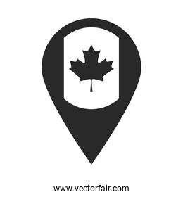 canada day, canadian flag in navigation pin silhouette style icon
