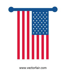 4th of july independence day, hanging american flag patriotism flat style icon