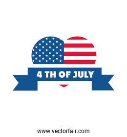 4th of july independence day, american flag shaped heart ribbon design flat style icon