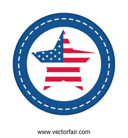 4th of july independence day, american flag in star national insignia flat style icon
