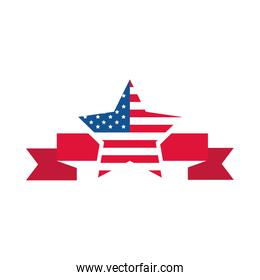 4th of july independence day, american flag in star banner design flat style icon
