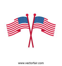 4th of july independence day, crossed american flags national symbol flat style icon