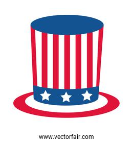 4th of july independence day, top hat with american flag flat style icon