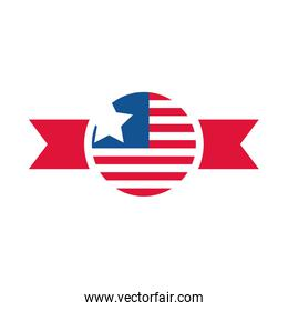 4th of july independence day, american flag insignia national banner flat style icon