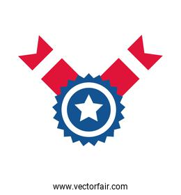 4th of july independence day, american flag medal star emblem flat style icon