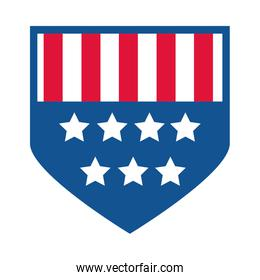 4th of july independence day, american flag shield insignia flat style icon