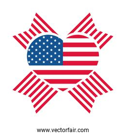 4th of july independence day, american flag heart pride celebration flat style icon