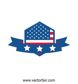 4th of july independence day, american flag ribbon emblem label flat style icon