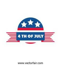 4th of july independence day, american democracy celebration badge flat style icon