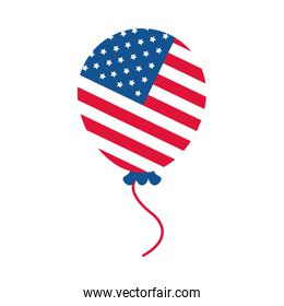4th of july independence day, american flag in balloon celebration flat style icon