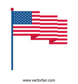 4th of july independence day, waving american flag patriotism national flat style icon