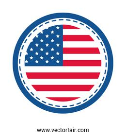 4th of july independence day, american flag round sticker design flat style icon