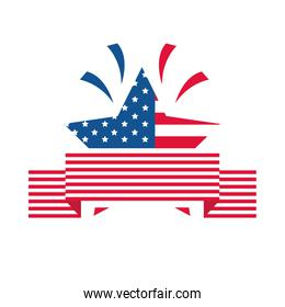 4th of july independence day, american flag star patriotic celebration flat style icon
