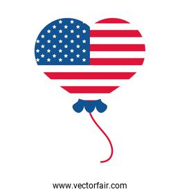 4th of july independence day, american flag in heart balloon decoration flat style icon