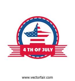 4th of july independence day, american flag star sticker banner flat style icon