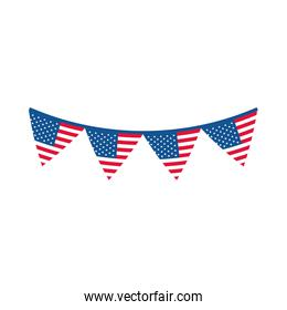 4th of july independence day, american flag in pennants decoration flat style icon